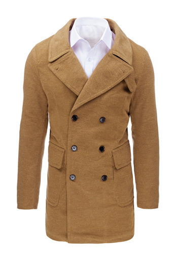 Мужское  пальто на пуговицах №2 Карамель