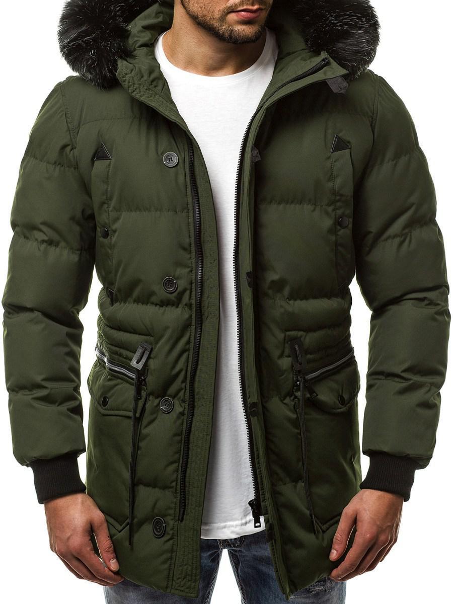 Куртка зимняя мужская с капюшоном Зеленый