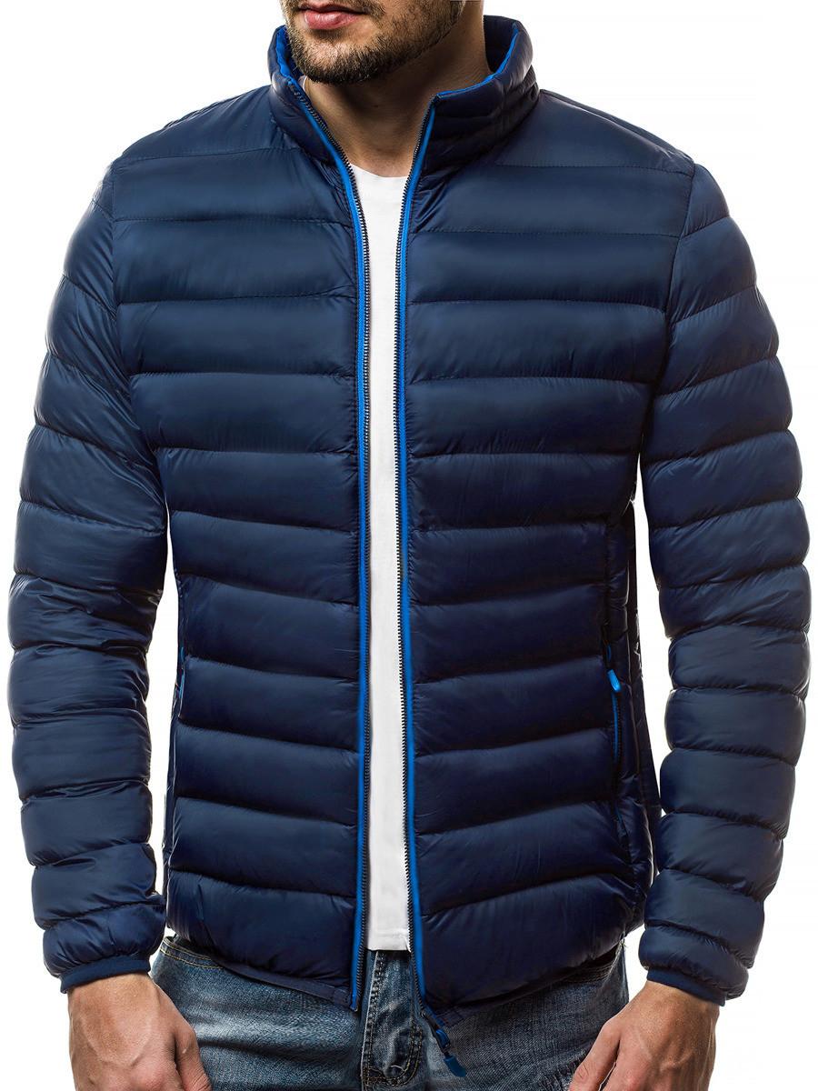 Мужская стеганая куртка воротник-стойка Темно-синий