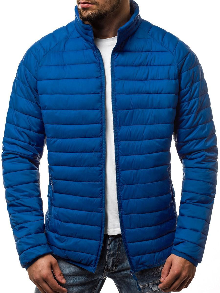 Мужская стеганая куртка воротник-стойка #1 Синий