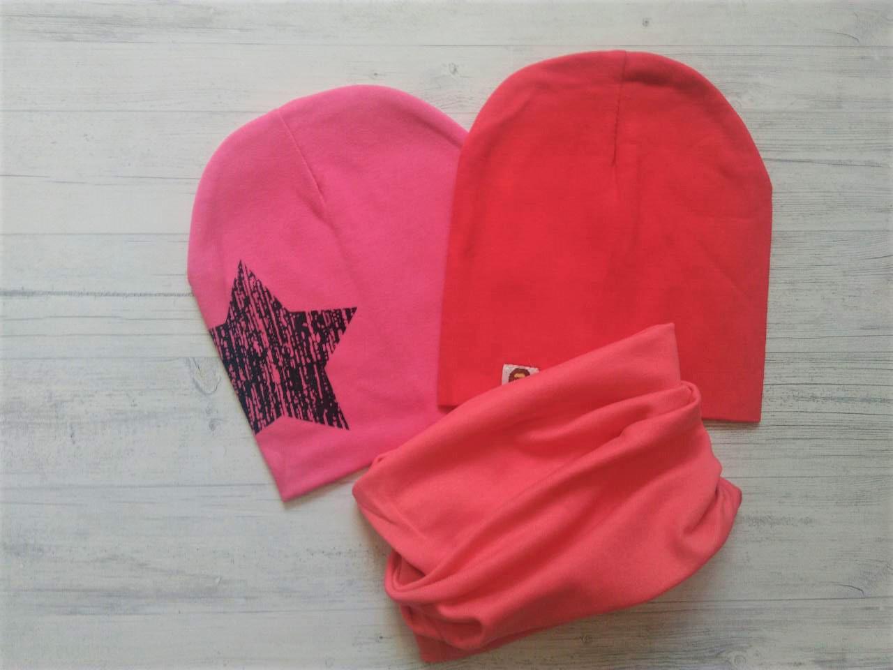 Детский комплект 2 шапки  +хомут звезда однотонный №1