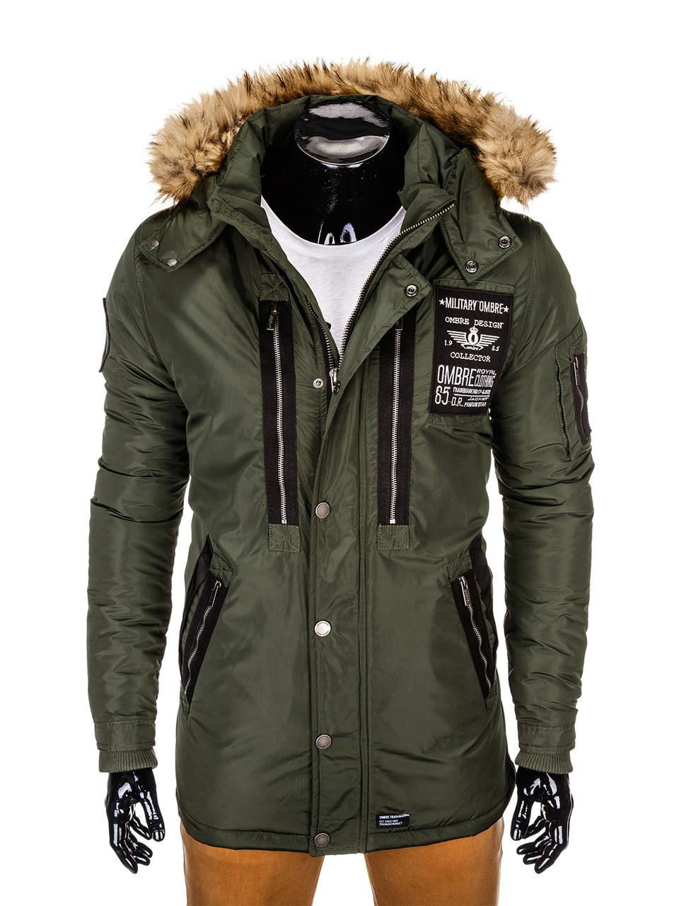 Куртка зимняя мужская парка с капюшоном  Хаки