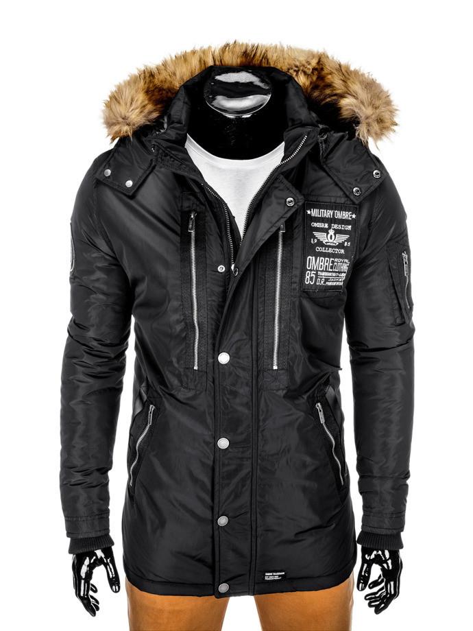 Куртка зимняя мужская парка с капюшоном Черный
