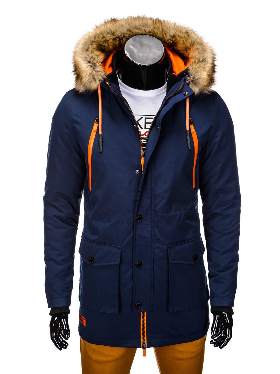 Куртка зимняя мужская парка с капюшоном №1 Синий