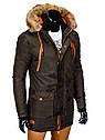 Куртка зимняя мужская парка с капюшоном №1 Синий, фото 4