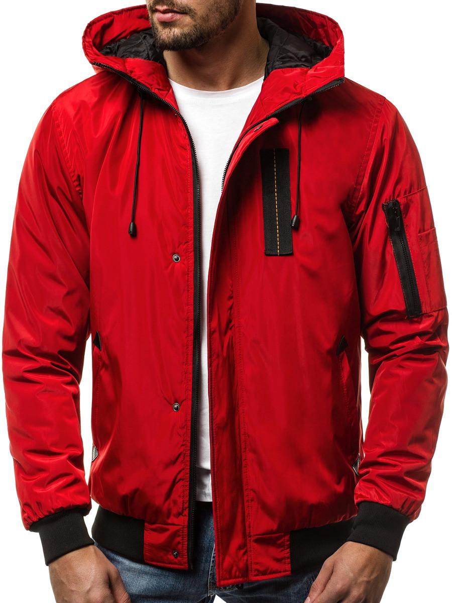 Мужская бомбер куртка с капюшоном Красный