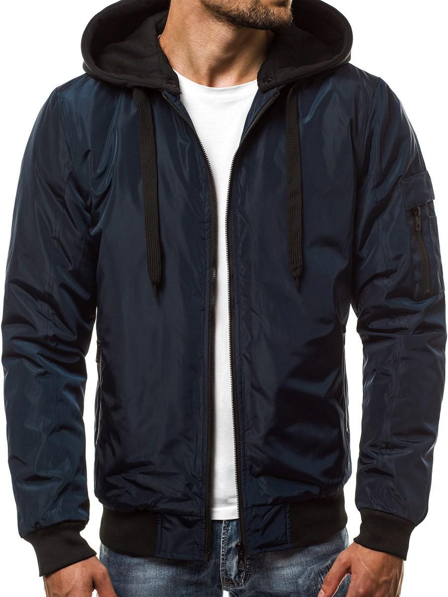 Мужская бомбер куртка с капюшоном №1 Синий