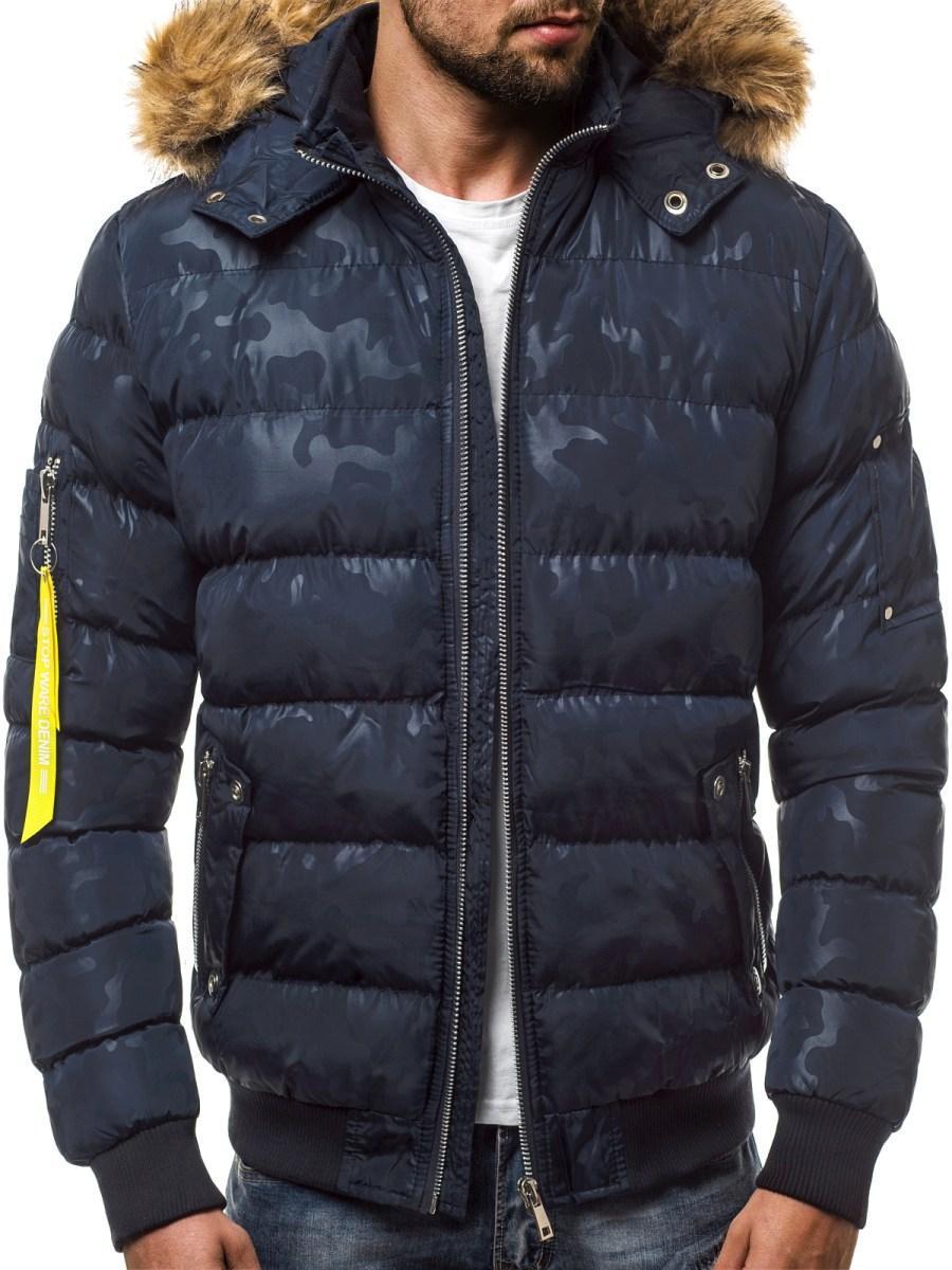 Куртка зимняя мужская с капюшоном камуфляжный принт Синий