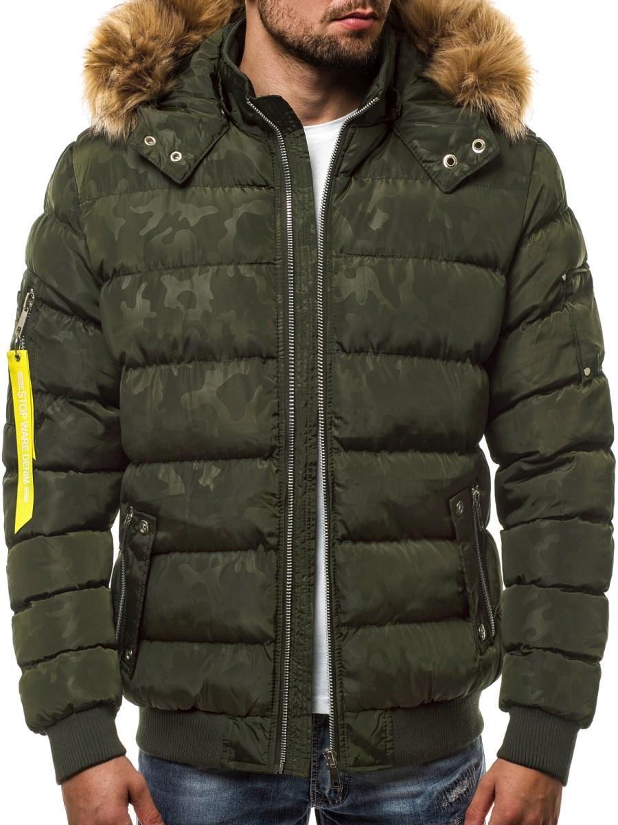 Куртка зимняя мужская с капюшоном камуфляжный принт Зеленый