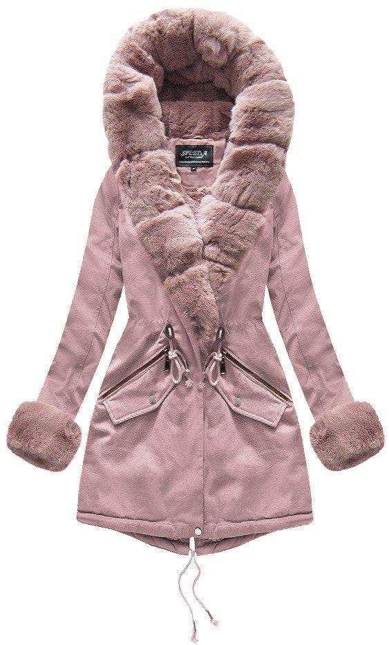 Женская зимняя парка с меховой отделкой Розовый
