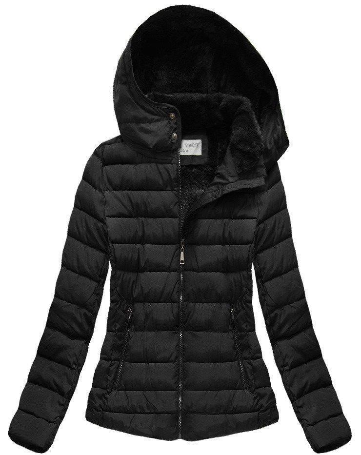 Зимняя женская короткая куртка  на меху Черный