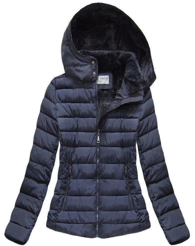 Зимняя женская короткая куртка  на меху Синий