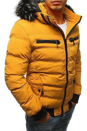 Мужская  зимняя куртка с капюшоном Желтый