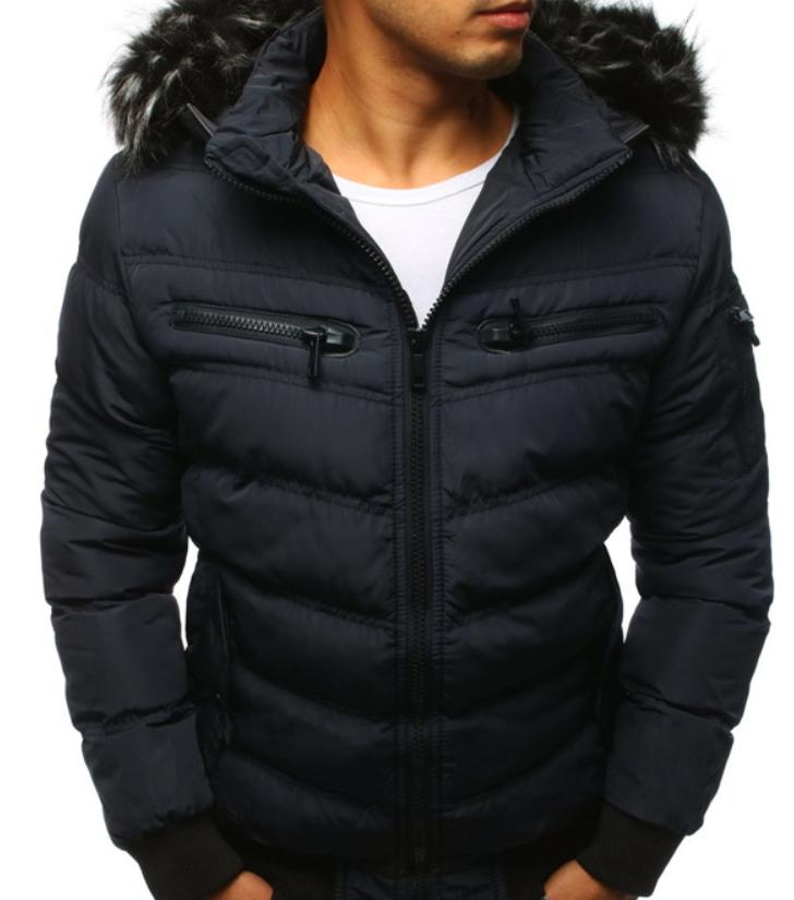 Мужская  зимняя куртка с капюшоном Синий
