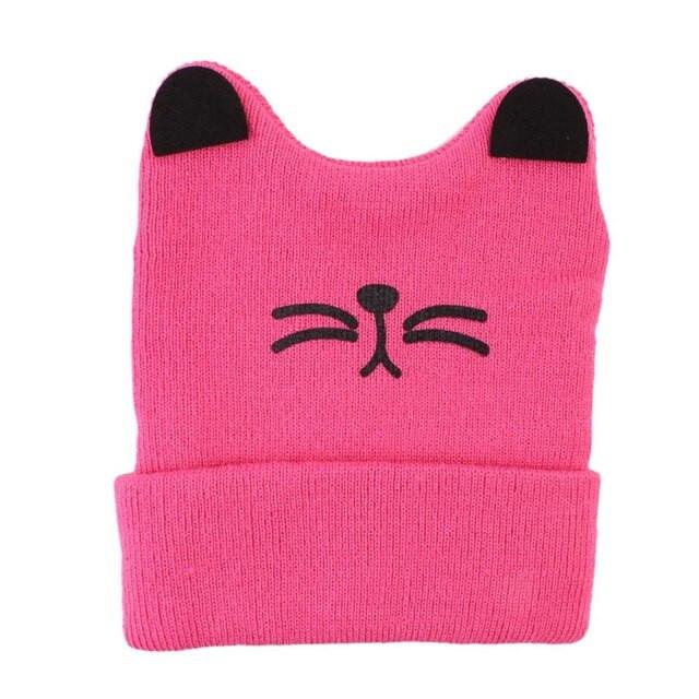 Детские шапочки с рожками и усиками Котик розовый