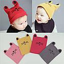 Детские шапочки с рожками и усиками Котик розовый, фото 3