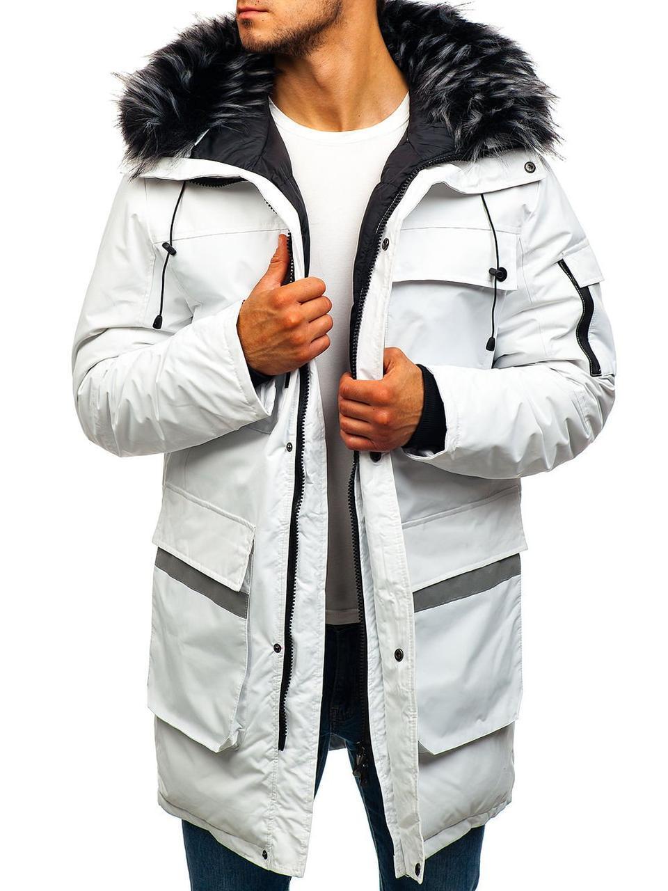 Зимняя удлиненная мужская парковая куртка с капюшоном №2 Белый