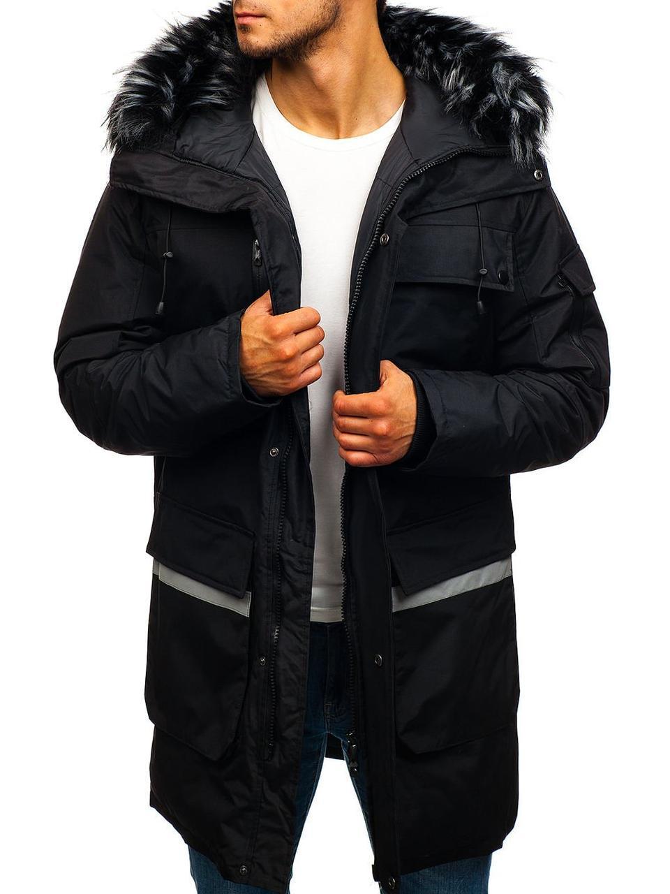 Зимняя удлиненная мужская парковая куртка с капюшоном №2 Черный