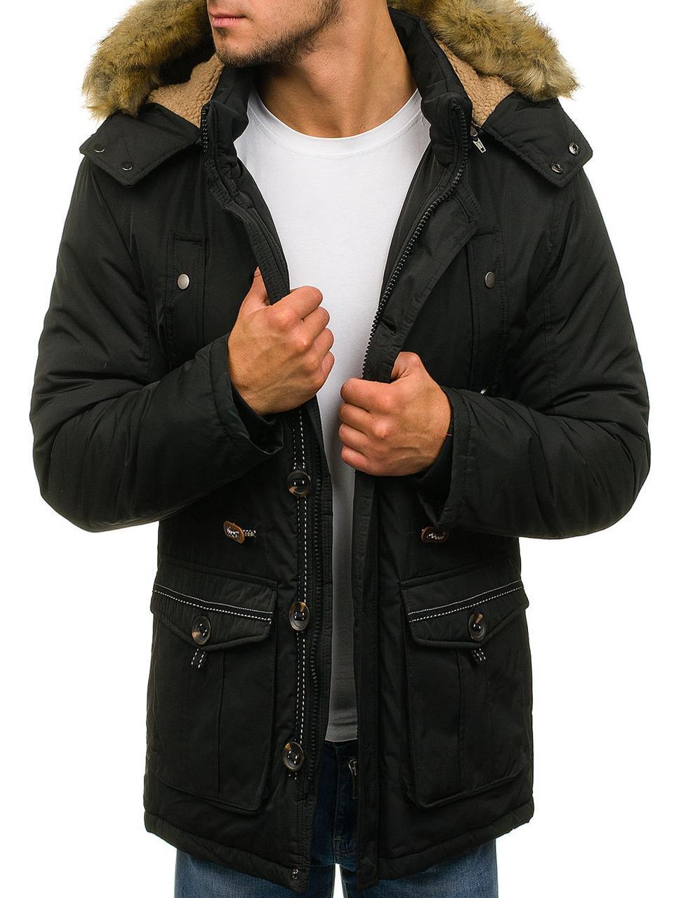Зимняя парковая мужская  куртка с капюшоном Черный