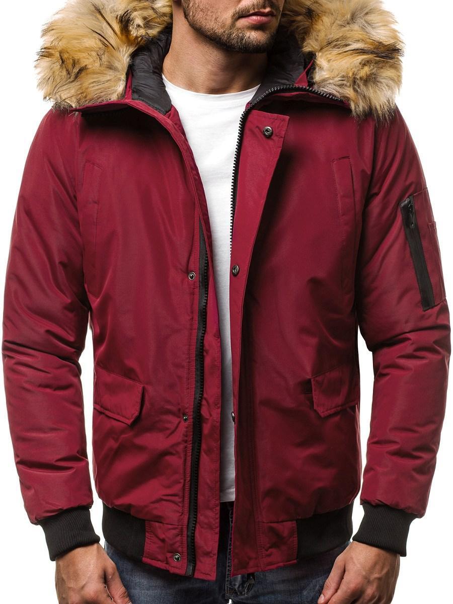 Куртка зимняя мужская с капюшоном Бордовый