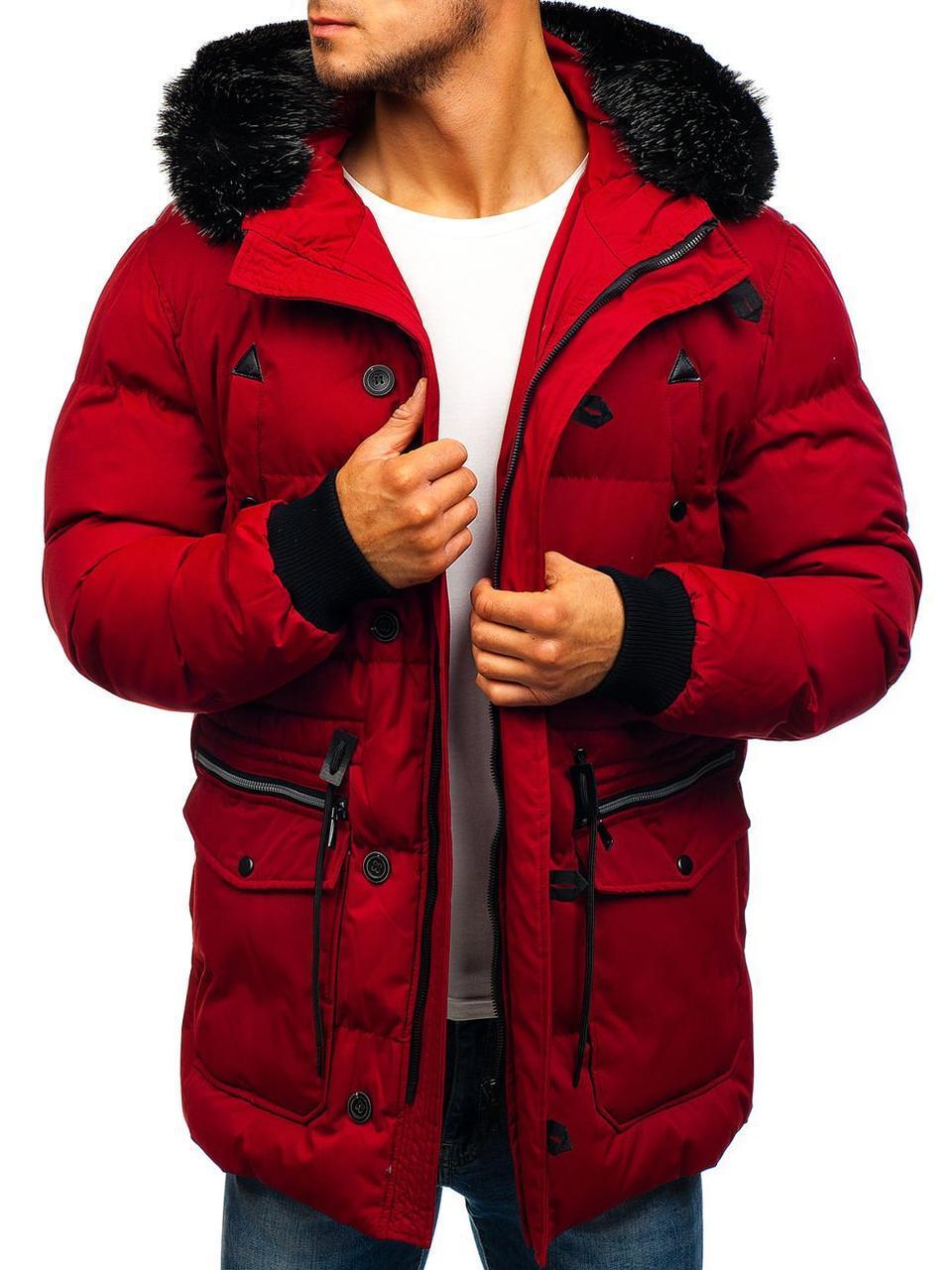 Зимняя стёганая мужская парковая куртка с капюшоном Бордовый