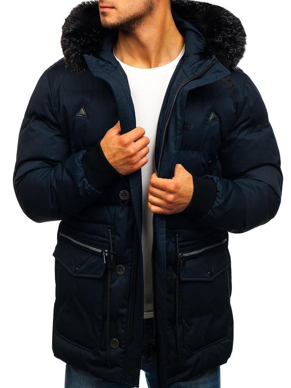 Зимняя стёганая мужская парковая куртка с капюшоном Синий