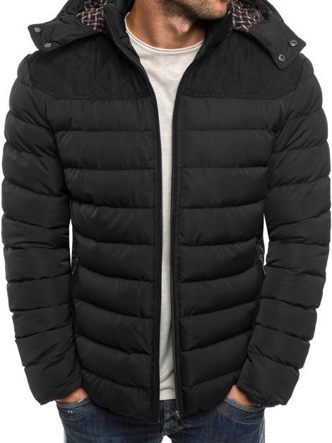 Мужская зимняя стёганая куртка с капюшоном и заплатками Черный