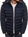Мужская зимняя стёганая куртка с капюшоном и заплатками Черный, фото 2