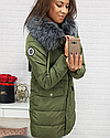 Стеганая куртка зимняя женская с серой опушкой Черный, фото 4