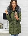 Стеганая куртка зимняя женская с серой опушкой Черный, фото 5