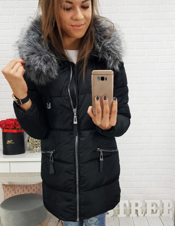 Стеганая куртка зимняя женская с серой опушкой Черный №1