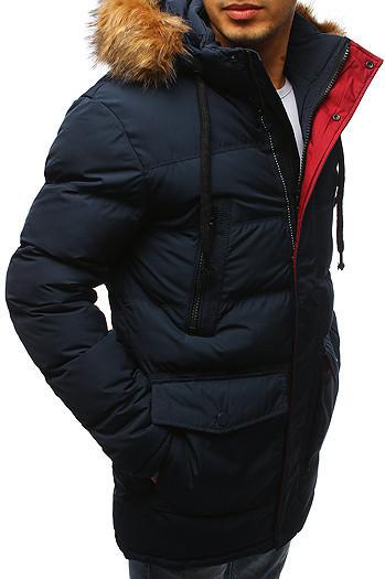 Мужская  зимняя куртка с капюшоном №4 Синий
