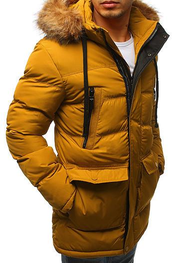 Мужская  зимняя куртка с капюшоном №4 Желтый