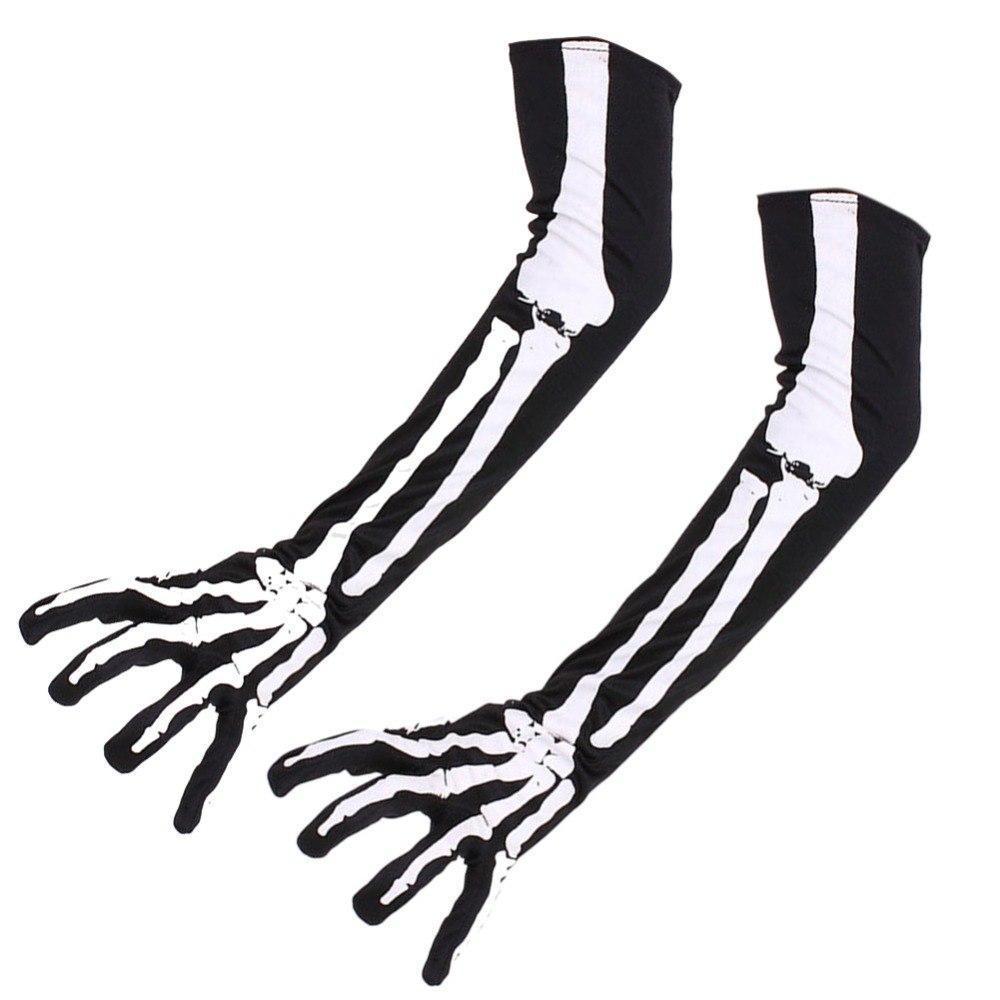 Перчатки Скелет длинные, Унисекс