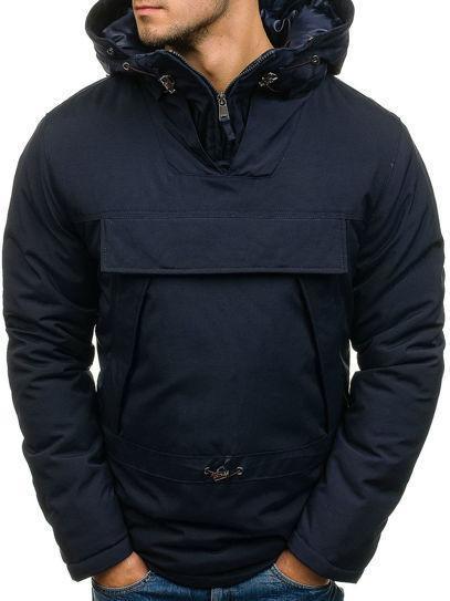 Мужская зимняя  куртка анорак с капюшоном Синий