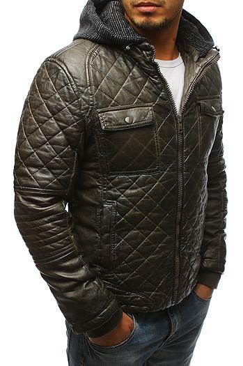 Мужская  зимняя куртка с капюшоном эко-кожа Хаки