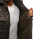Мужская  зимняя куртка с капюшоном эко-кожа Хаки, фото 3