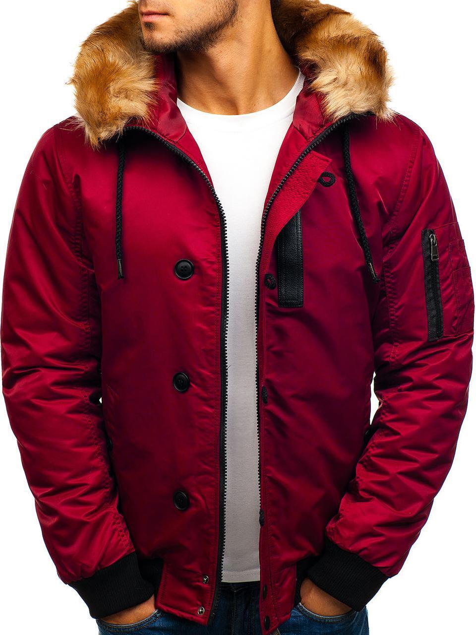 Куртка зимняя мужская с капюшоном №5 Бордовый