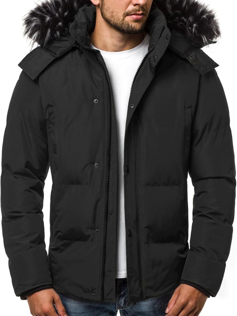 Зимняя стёганая мужская куртка с капюшоном №1 черный
