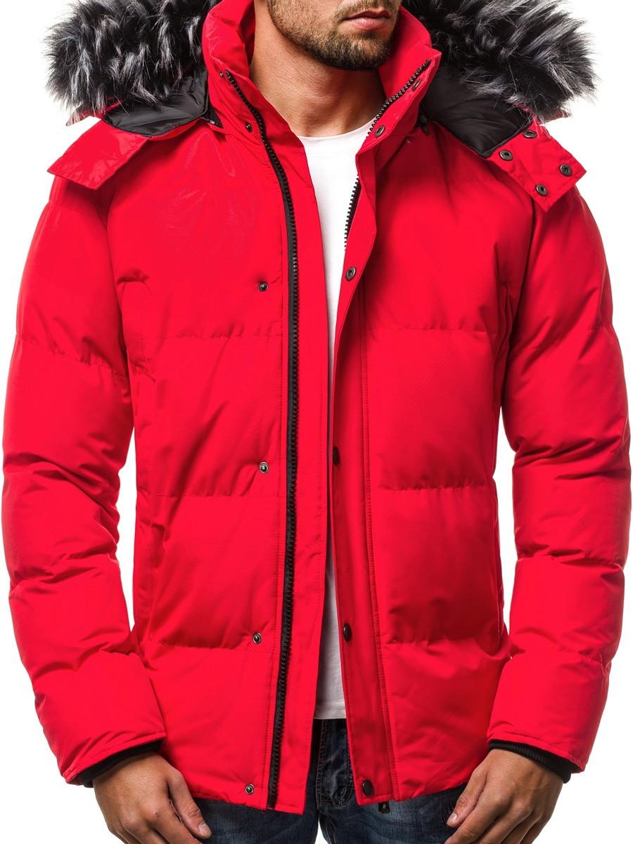Зимняя стёганая мужская куртка с капюшоном №1 Красный