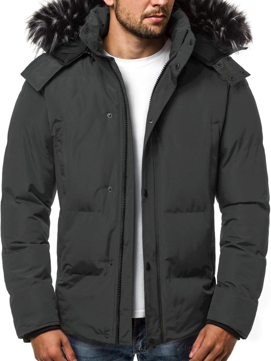 Зимняя стёганая мужская куртка с капюшоном №1 Графит