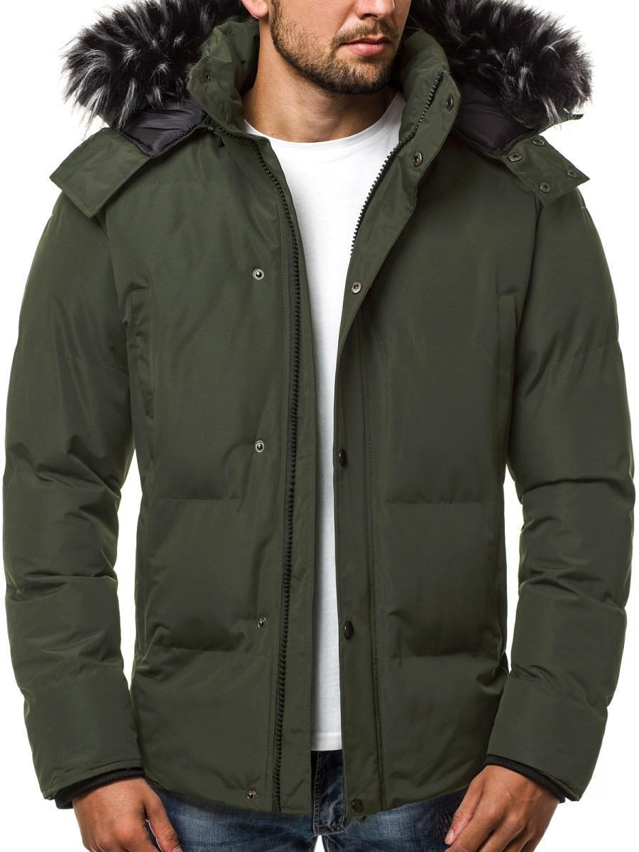 Зимняя стёганая мужская куртка с капюшоном №1 Зеленый