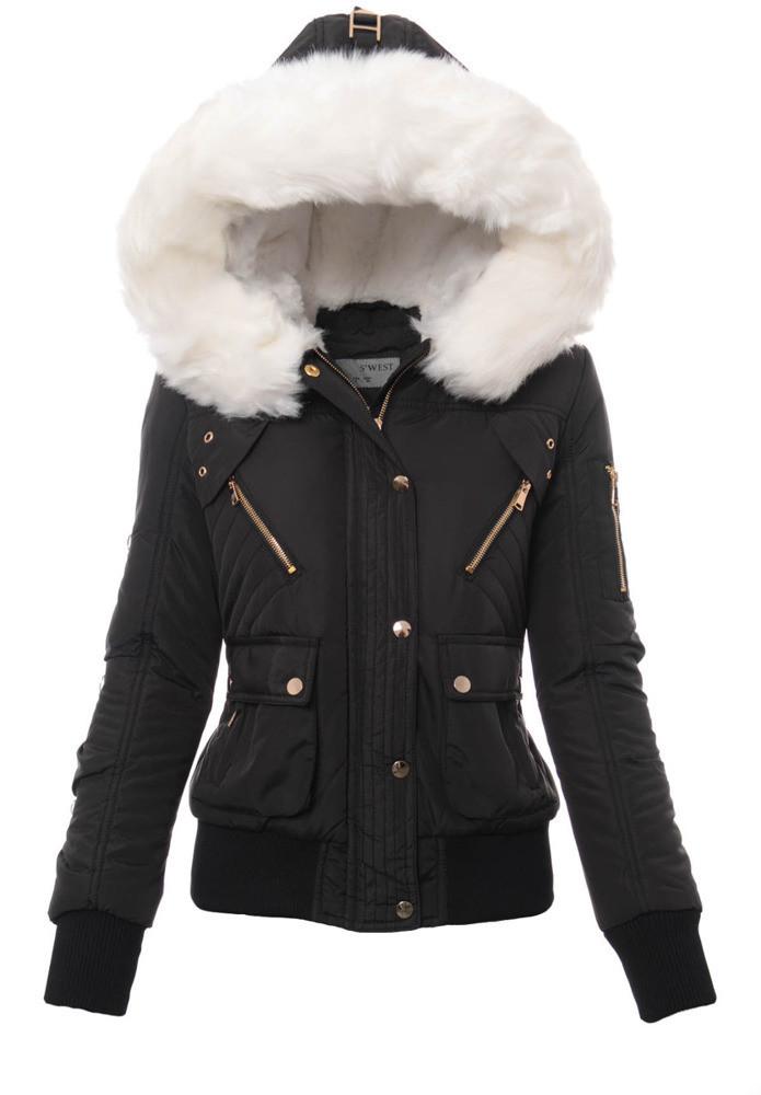 Женский зимняя куртка бомберка с опушкой Черный