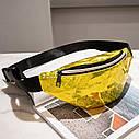 Блестящая женская сумка бананка Голограмма, Голубая, фото 6