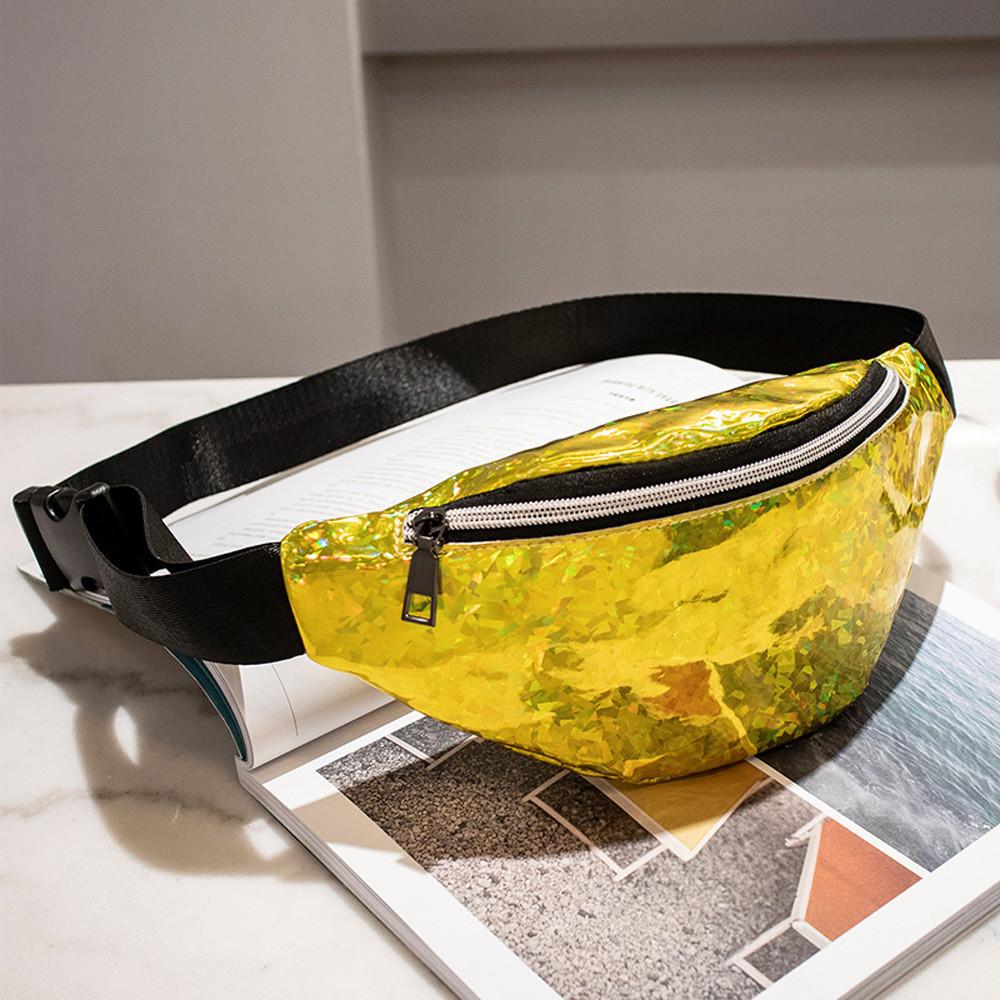 Блестящая женская сумка бананка Голограмма, Желтая