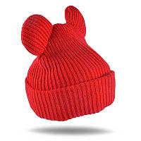 Тёплая шапка для девочки с ушками Красный