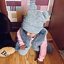 Тёплая шапка для девочки с ушками Серый, фото 4