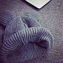 Тёплая шапка для девочки с ушками Серый, фото 6