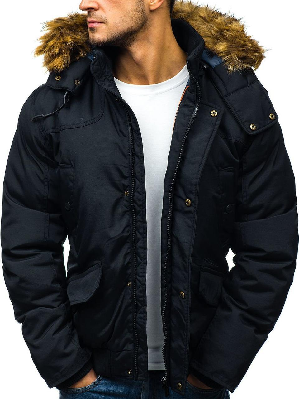 Зимняя мужская куртка с капюшоном бомбер №3 Черный