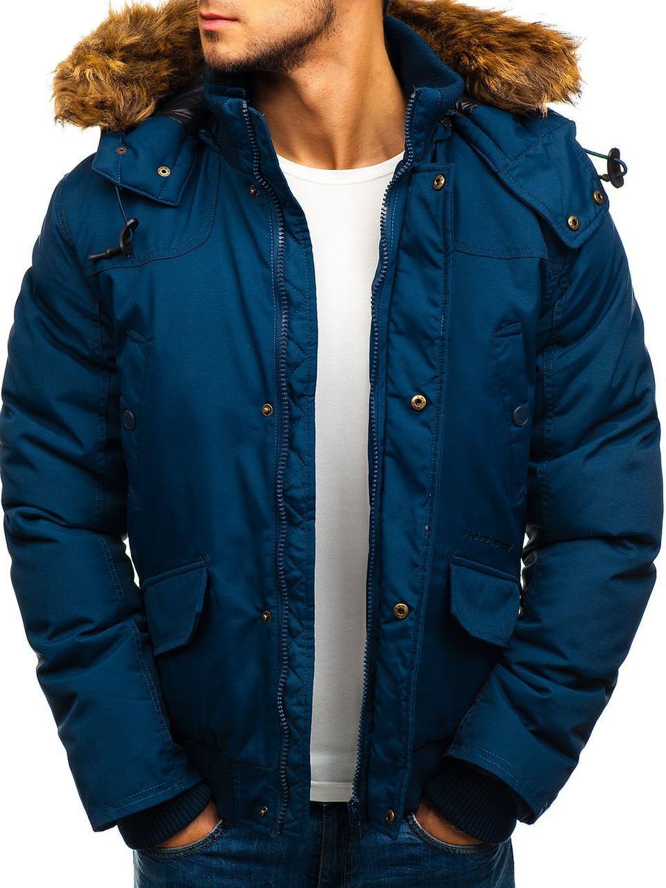 Зимняя мужская куртка с капюшоном бомбер №3 Синий